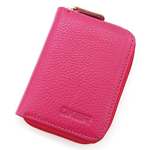 DEEZOMO Genuine Leather Mini Credit Card \ Coin Wallet with Zipper - money receipt design
