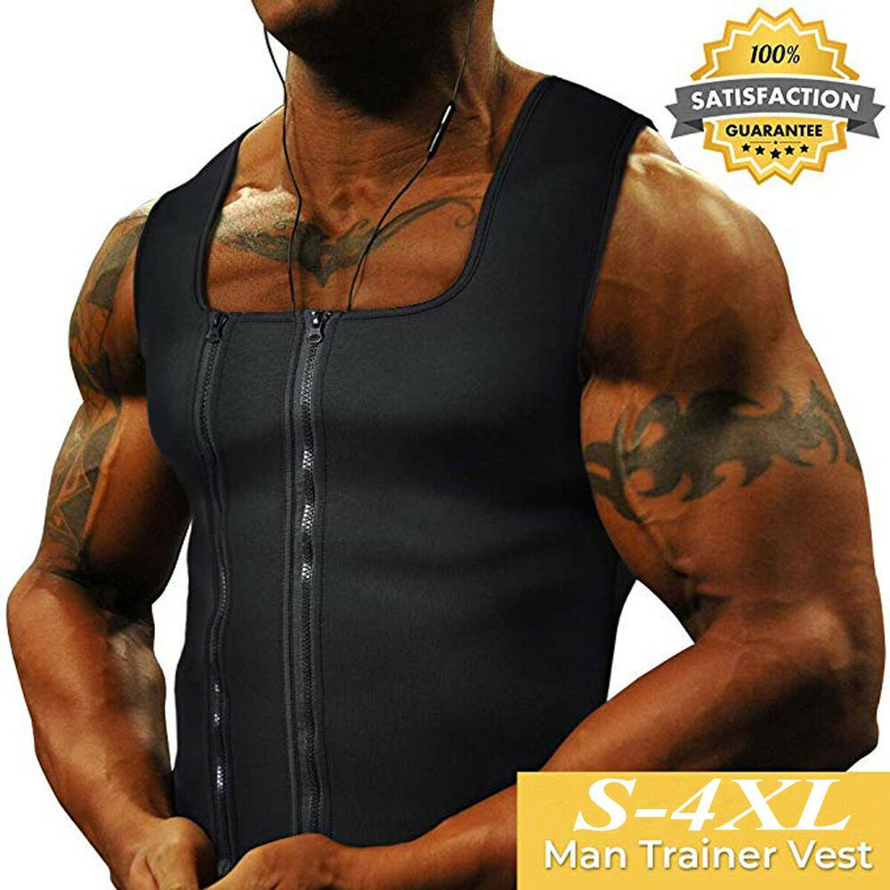 UK Men/'s Slimming Neoprene Vest Sweat Shirt Body Shaper Waist Trainer Shapewear
