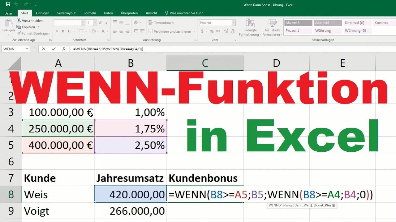 Wenn Funktion Excel Farbe