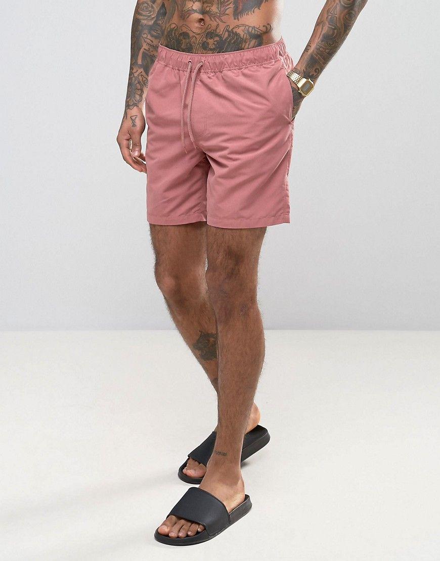 00403abc106059 ASOS Swim Shorts In Dark Pink Mid Length - Pink | Products | Swim ...