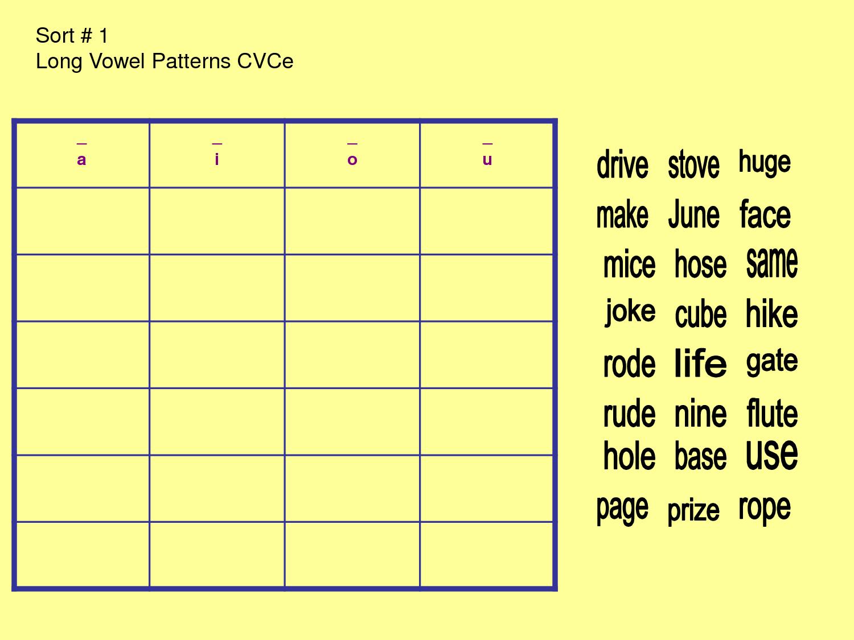 long u words sort 1 long vowel patterns cvce a i o u. Black Bedroom Furniture Sets. Home Design Ideas
