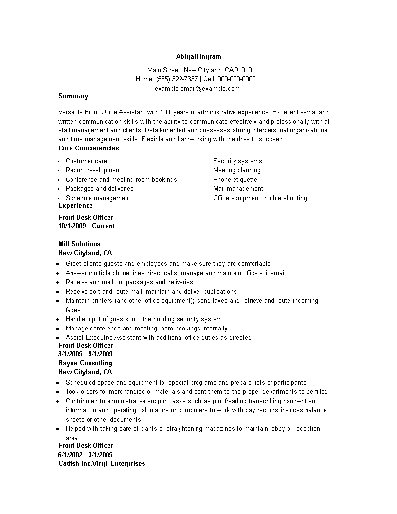 Front Office Resume Front Office Administration Resume  How To Draft A Front Office .