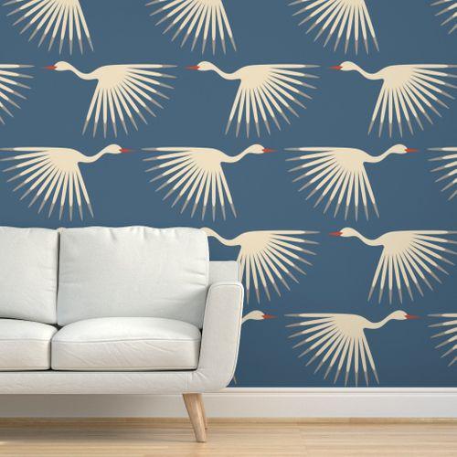 Art Deco Cranes Custom Pantone 5405 Art Deco Wallpaper Wallpaper Art Deco