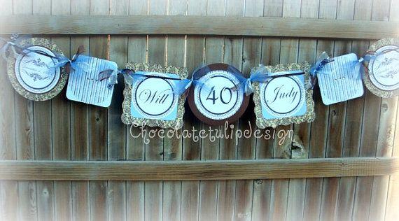Th wedding anniversary banner baby blue by chocolatetulipdesign