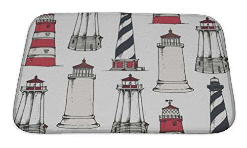 Gear New Bath Rug Mat No Slip Microfiber Memory Foam Lighthouse Pattern 24x17