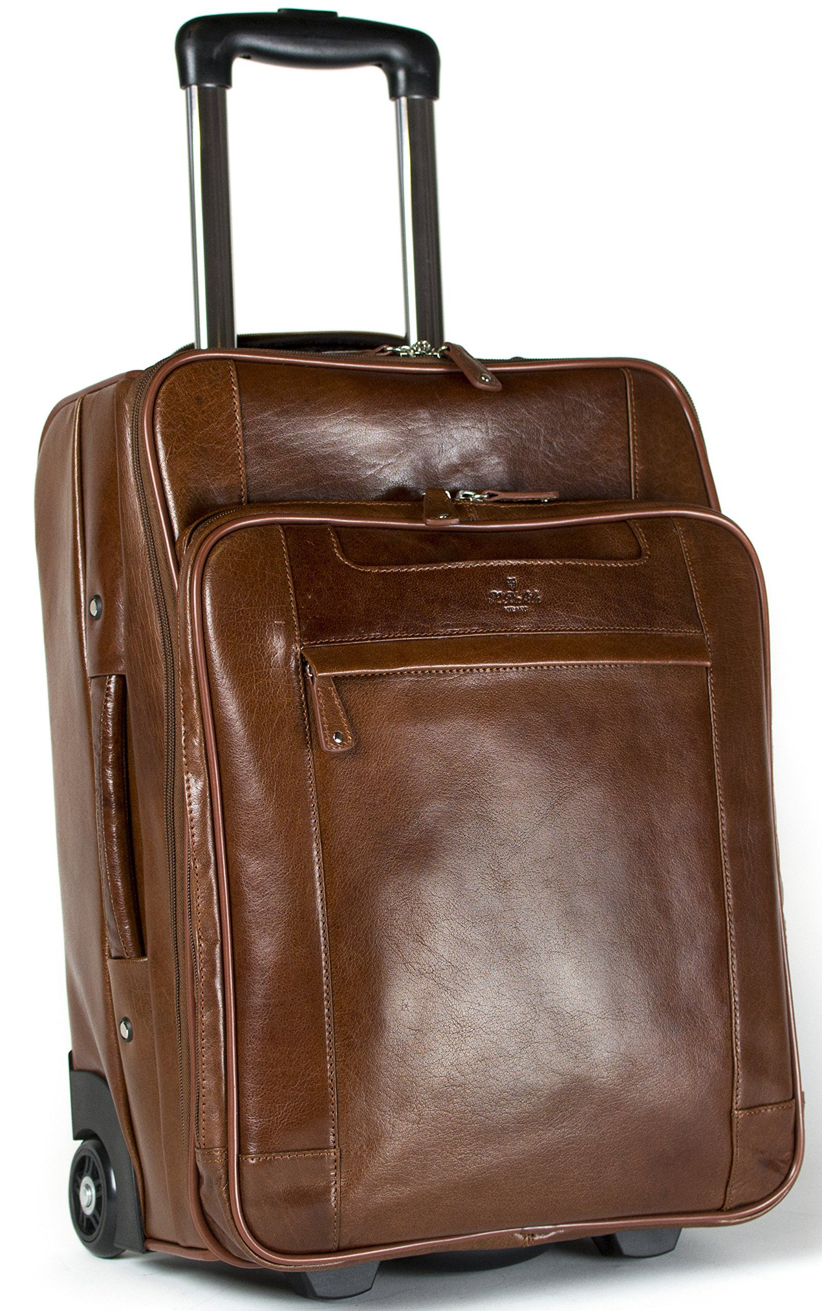 S Babila Leather Laptop Cabin Size Wheeled Hand Luggage