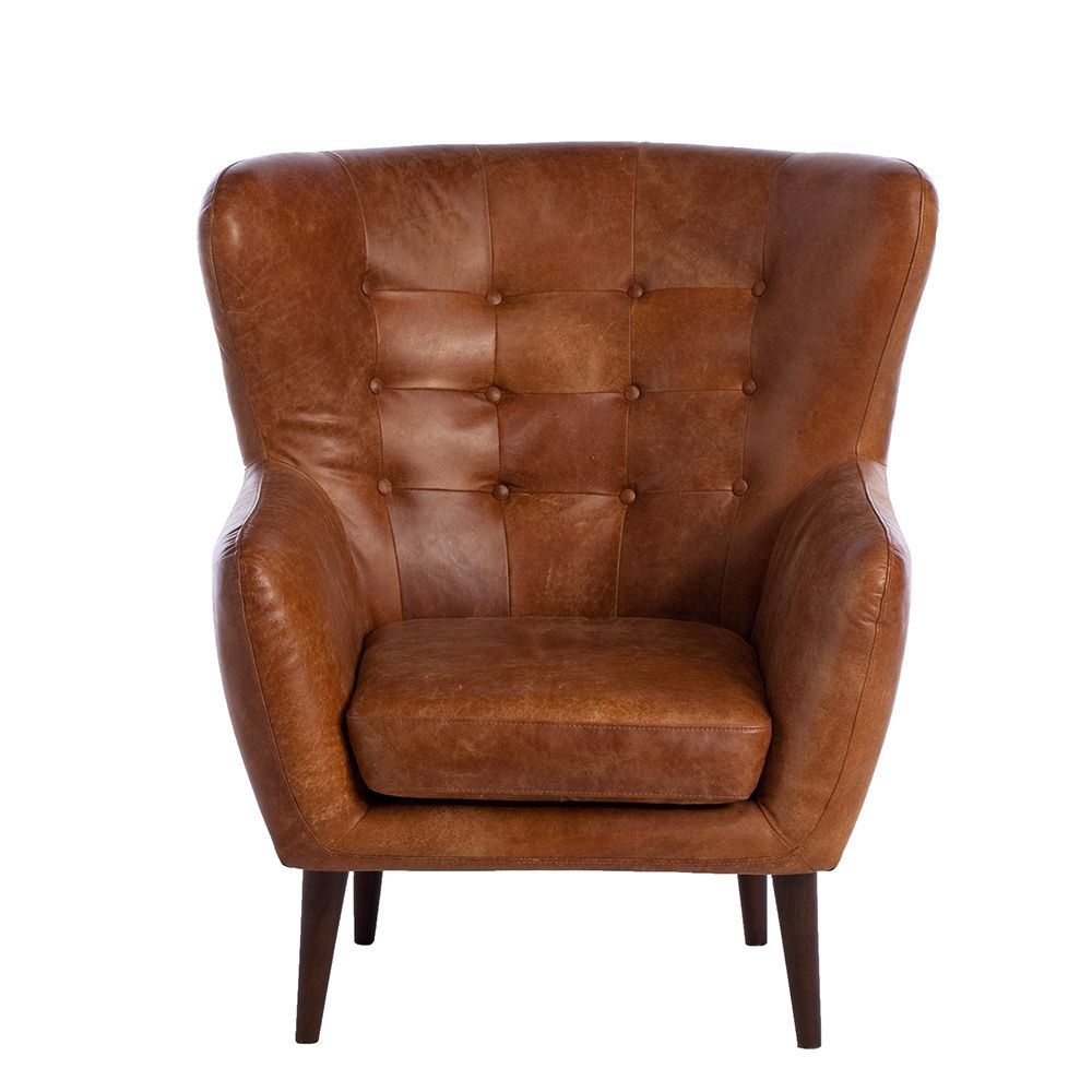 Tobin Outback Leather Chair Tan Available Online At Barker - Comfy leather armchair for readers