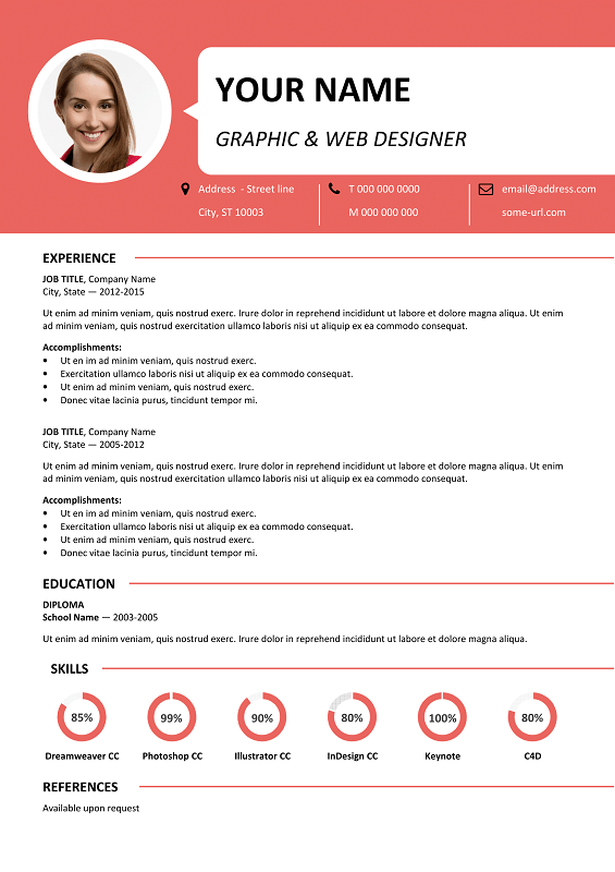 Centrum Free Resume Template Microsoft Word - Red Layout ...