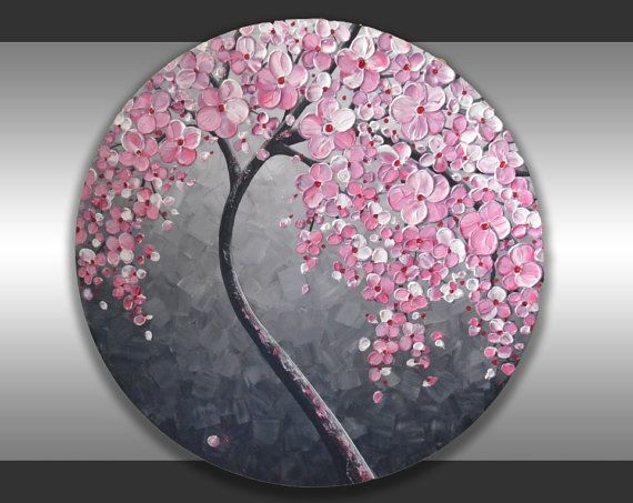 Textured Red Cherry Blossom Tree Painting Ready To By Zarasshop In 2021 Tree Painting Cherry Blossom Tree Red Cherry Blossom