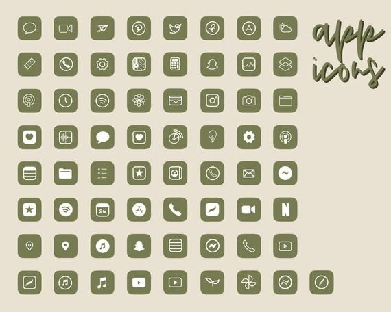 65 Premium Aesthetic Minimalist Olive Green iOS 14