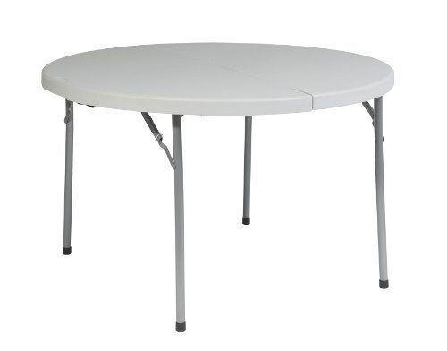 Work Smart 48 Inch Round Fold In Half Resin Multi Purpose Table By Work Smart 86 63 Light Weight Sleek Folding Table Multipurpose Table Round Folding Table