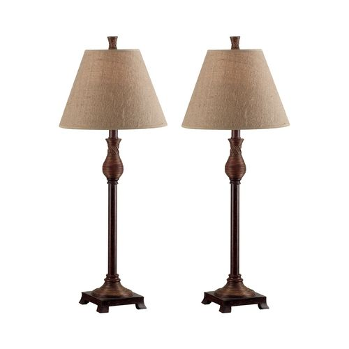 Table Lamp Set With Beige / Cream Shade In Natural Reed