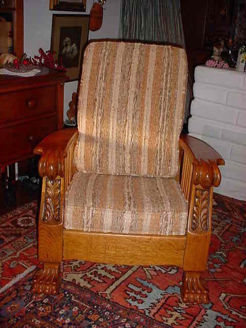 antique beautiful golden oak morris chair #missionartscrafts