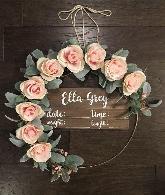 Rustic Door Wedding Ideas: Hula Hoop Rustic Baby Door Hangerwedding Floral Wreath