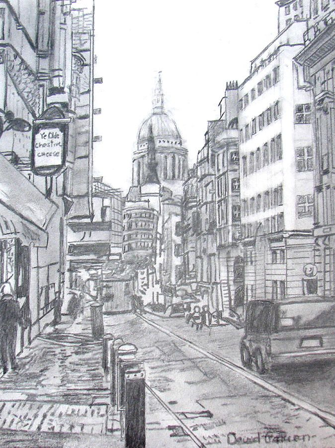 Shading Used To Give A Simple Yet Detailed Feel To The Sketch Shadows Used To Give The Street A Crammed Busy A City Drawing Drawing Scenery Cityscape Drawing
