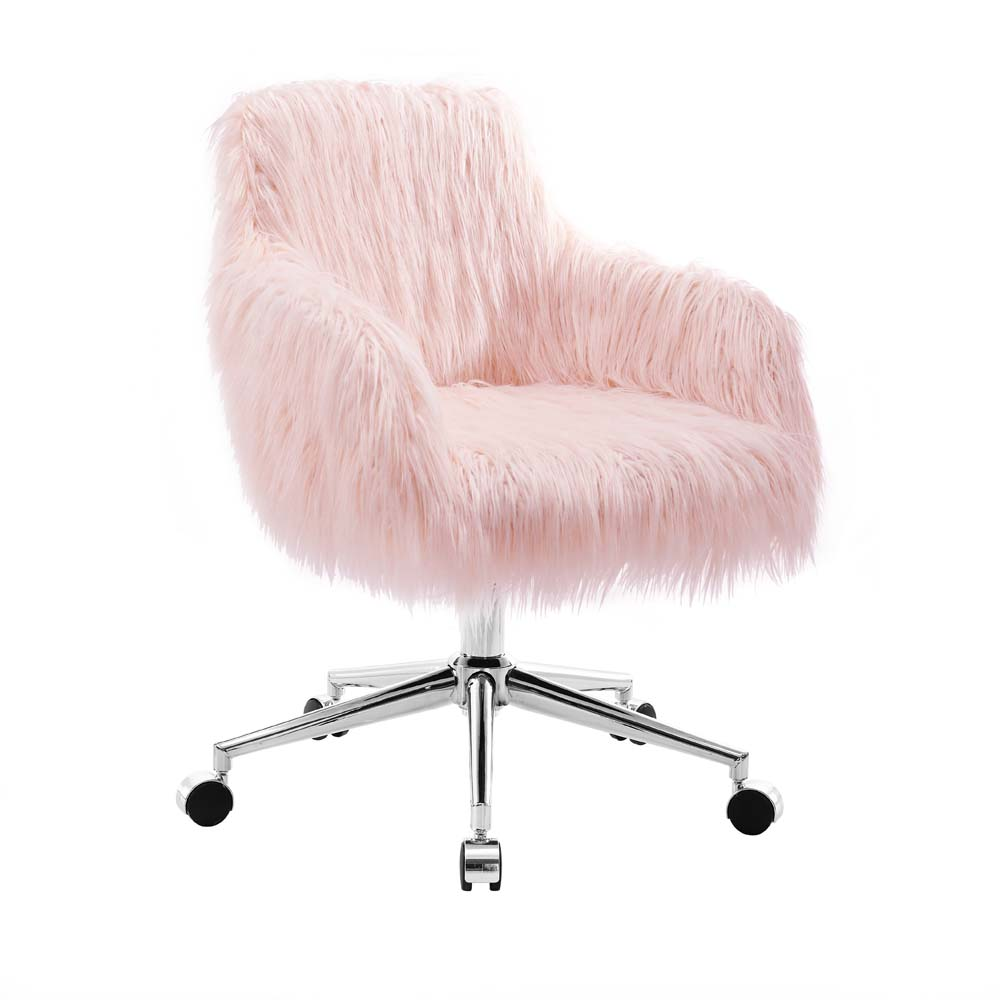Linon Fiona Faux Fur Office Chair 16 20 In Adjustable Seat Height Multiple Colors Walmart Com In 2020 Pink Office Chair Upholstered Office Chair Home Office Chairs