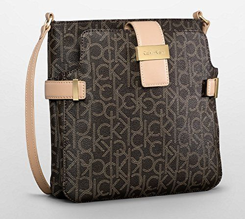Calvin Klein Jordan Double Pocket Crossbody Bag Handbag Brown Cross Body Carry On