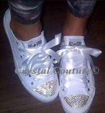 Customised Bling Converse White Monos Crystal Uk 3 4 5 6 7