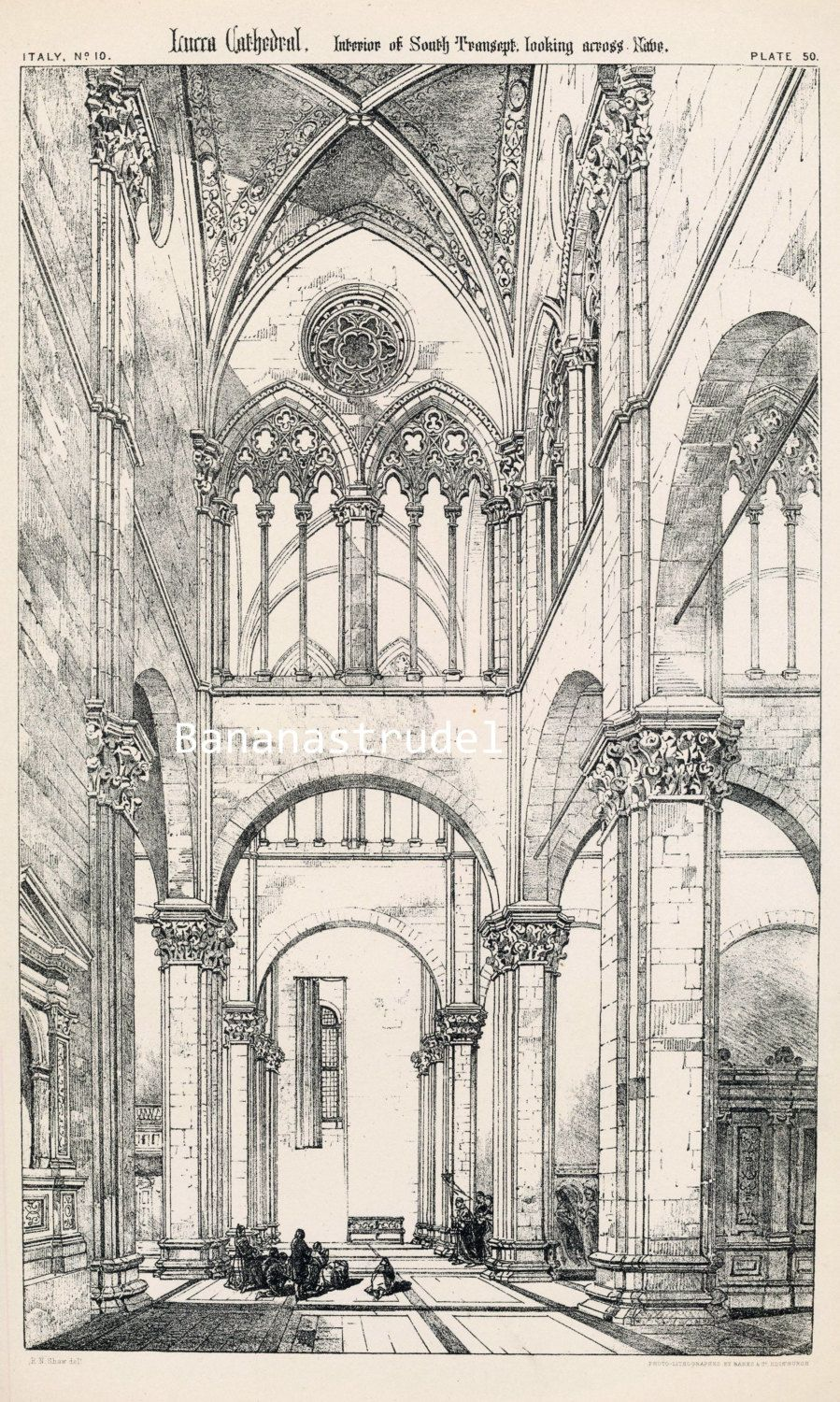 1872 antique print of cathedral details large antique for Print architectural drawings