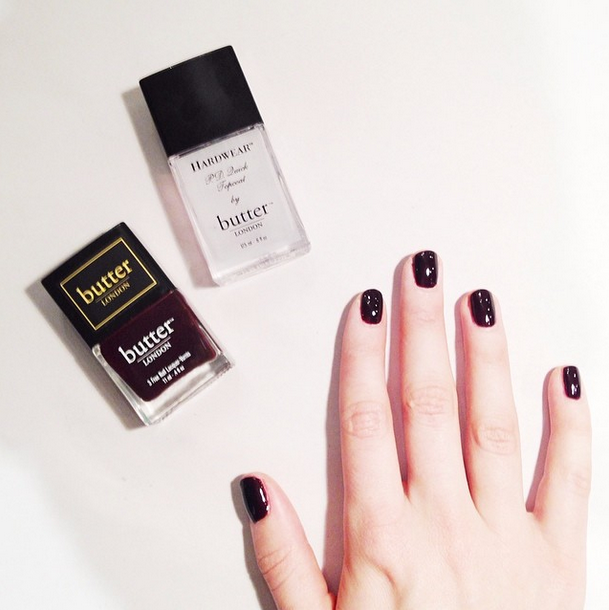 My favorite nail color from Butter London.  It's called La Moss and it's a deep dark wine red color, almost black.  I'm always instagramming my nail color adventures.  You can follow me at @Moorea Seal.com