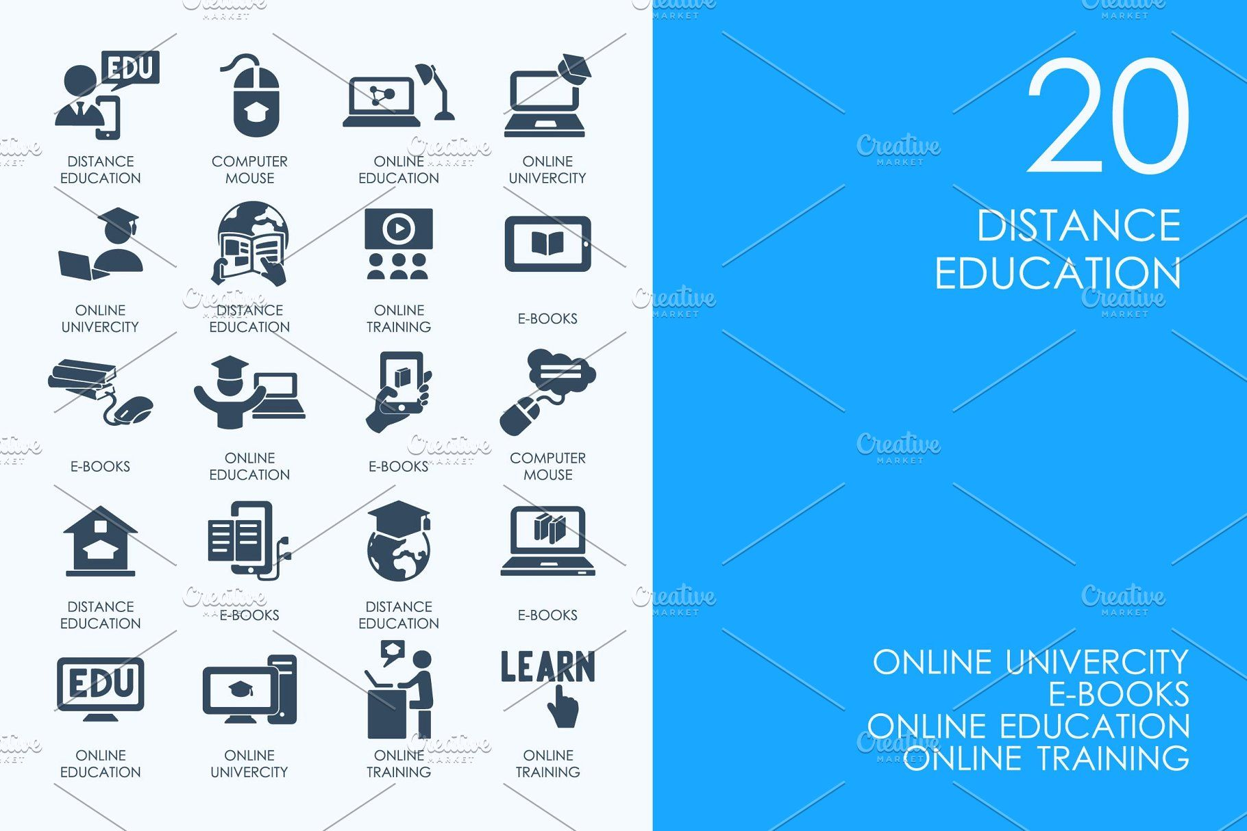 Distance education icons educationDistanceIconsicons