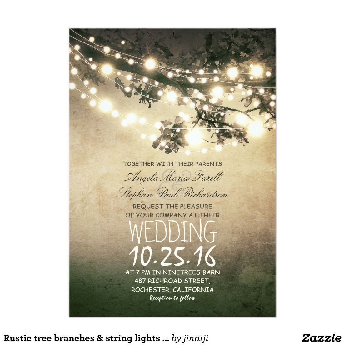 rustic tree branches and lights elegant wedding card trees rustic tree branches string lights wedding 5x7 paper invitation card