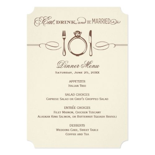 Vintage Wedding Menu Brown Dinner Menu Card  Eat Drink And Be