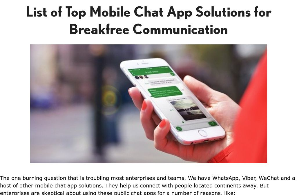 'Top instant messaging chat app solutions for android