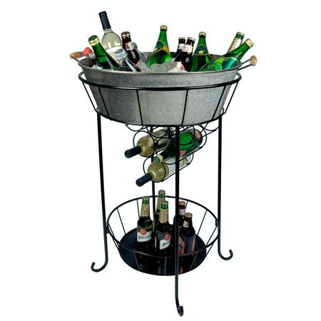 Galvanized Double Beverage Tub With Stand At Pottery Barn Beverage Tub Galvanized Metal Pottery Barn