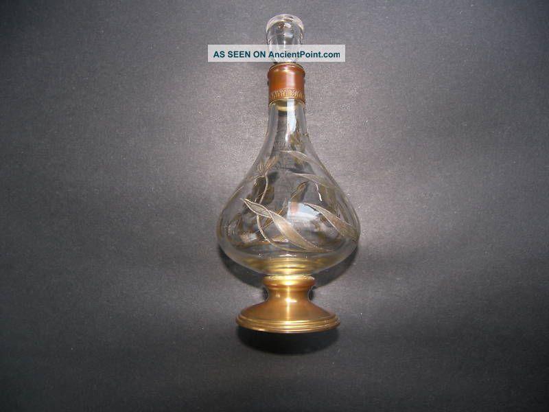 Art Nouveau French Intaglio Glass Copper Cologne Bottle Perfume Bottle  c.1900-1940