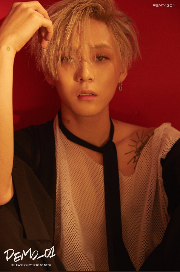 Members Of Pentagon Show Off Their Unique Tattoos In Demo 1 Teaser Images Pentagon Pentagon Members Yan An