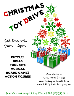 Christmas Toy Drive Flyer Template  Crafts