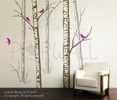 Art Tree Wall Decals Wall Sticker Tree Decal   Birch Forest Trees ( 5 TREES  )