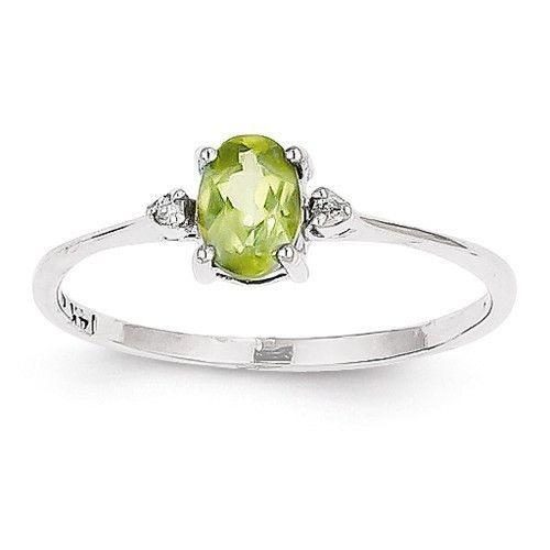 August Birthstone Genuine Peridot Gemstone /& Diamond Accent Ring 10k White Gold