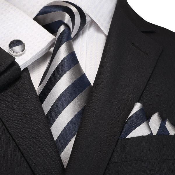 Navy Blue and Gray Striped Silk Necktie Set JPM18A96 | Men ...