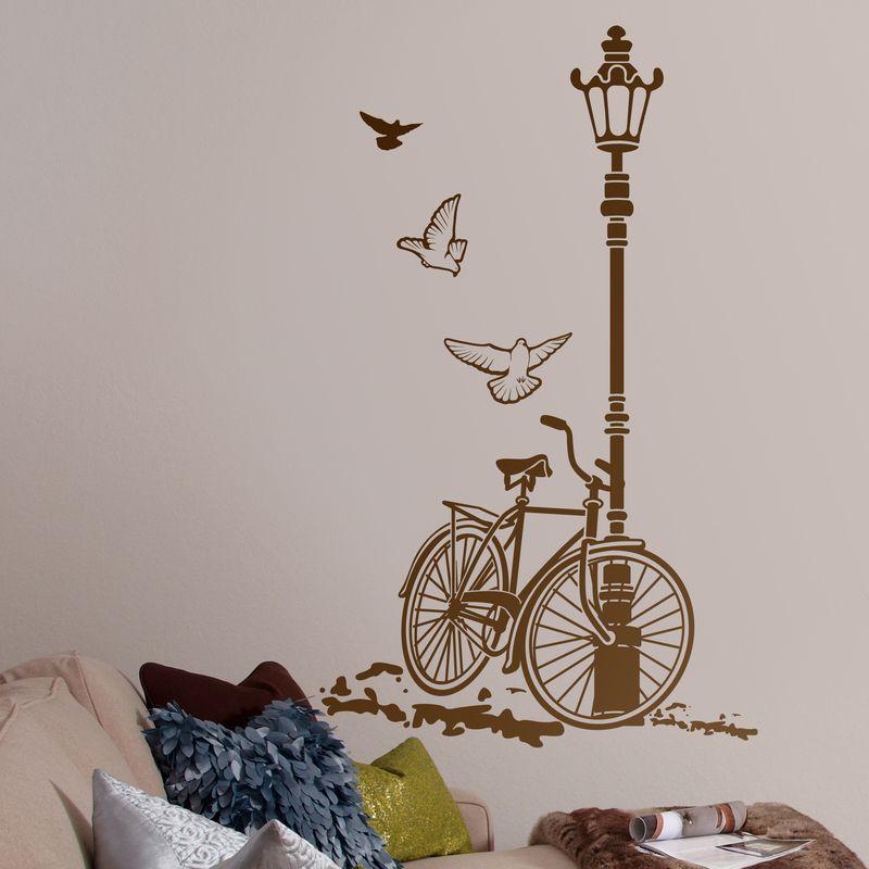 Vinilos decorativo oficina bicicleta y farola decoraci n - Vinilos decorativos dormitorio ...