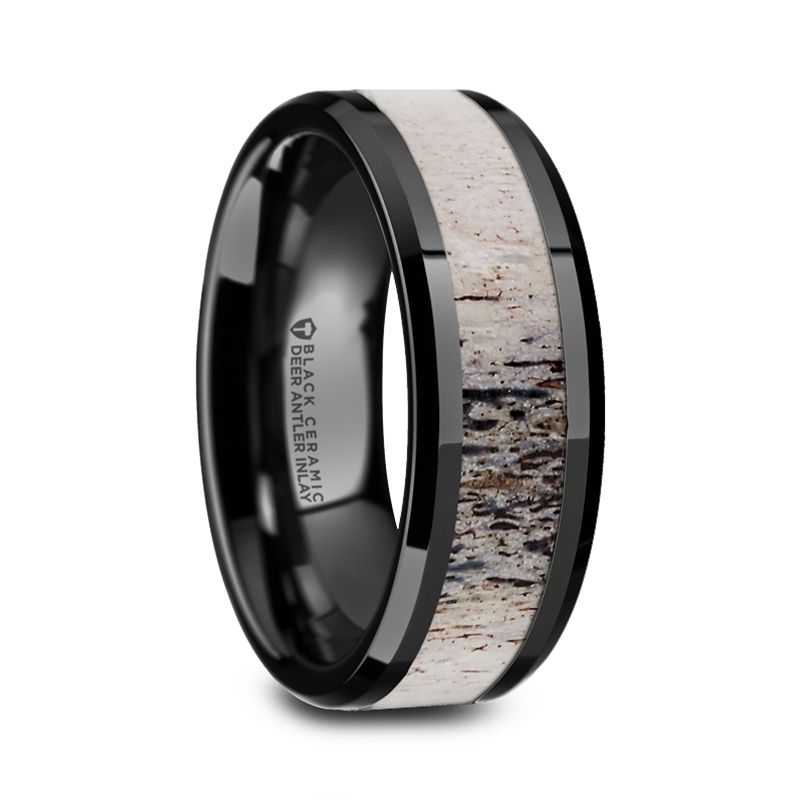 Agamemnon Black Ceramic Men S Wedding Band With Ombre Deer Antler Inlay Ceramic Wedding Ring Antler Wedding Band Mens Ceramic Wedding Bands