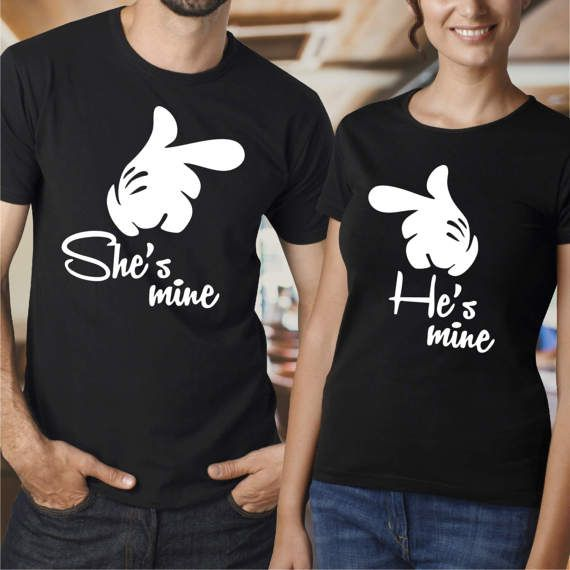 Cartoon Couple Design Tees Shirts Couple Tee Tops T Shirt: Couple Matching T-shirts She Is Mine He Is Mine Disney By