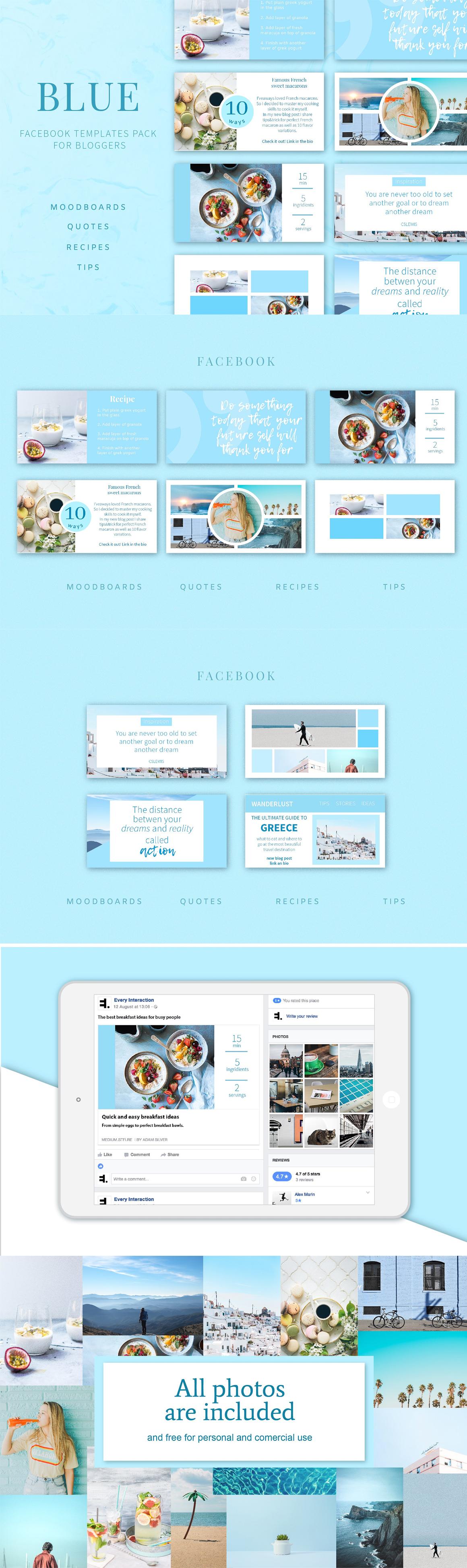 blue facebook post templates pack psd social media templates