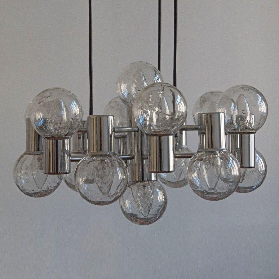 Doria Großer Kronleuchter Deckenlampe 14 Leuchten Chrom 60er 70er Jahre Lampe Kronleuchter Deckenlampe