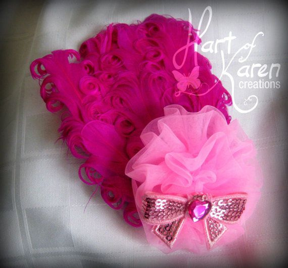 Feather Rosette Bow Valentine Bow Pink Bow by HartOfKarenCreations, $11.50