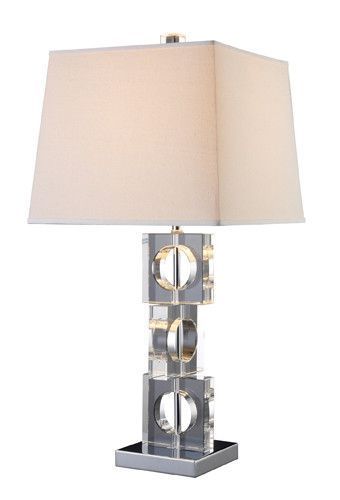 Dimond d1417 albion table lamp in clear crystal and chrome with off white shade