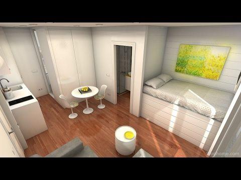 minipiso 23m2 (con doble balcón). - YouTube   Small living spaces ...