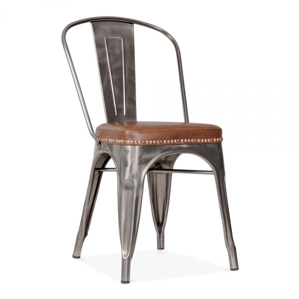 Xavier Pauchard Tolix Style Metal Side Chair With Brown Cushion