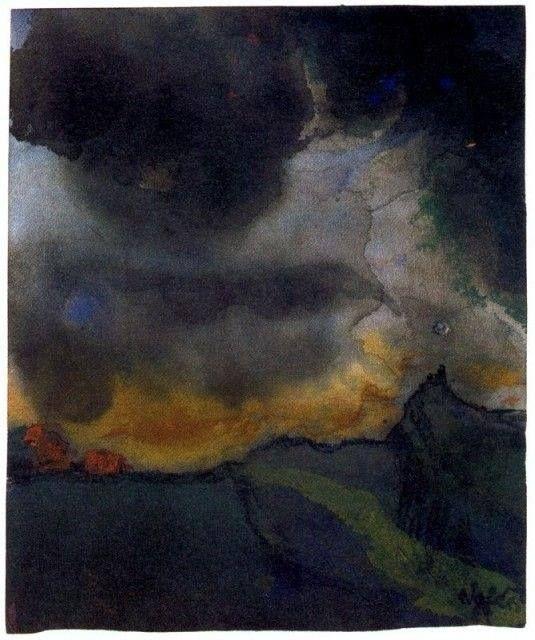 Emil Nolde - Mountain landscape with dark clouds