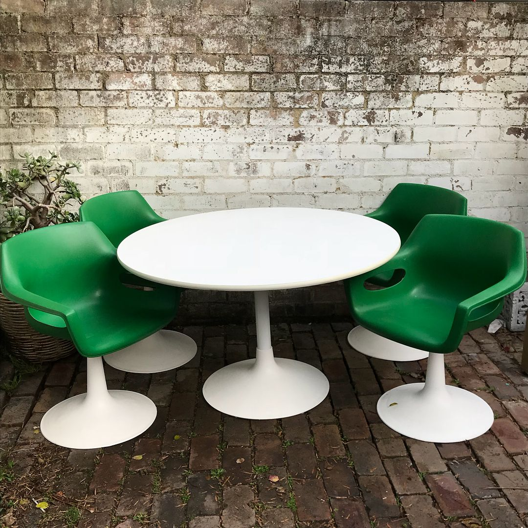 Retro vintage Sebel dining table and chairs. Funky apple green