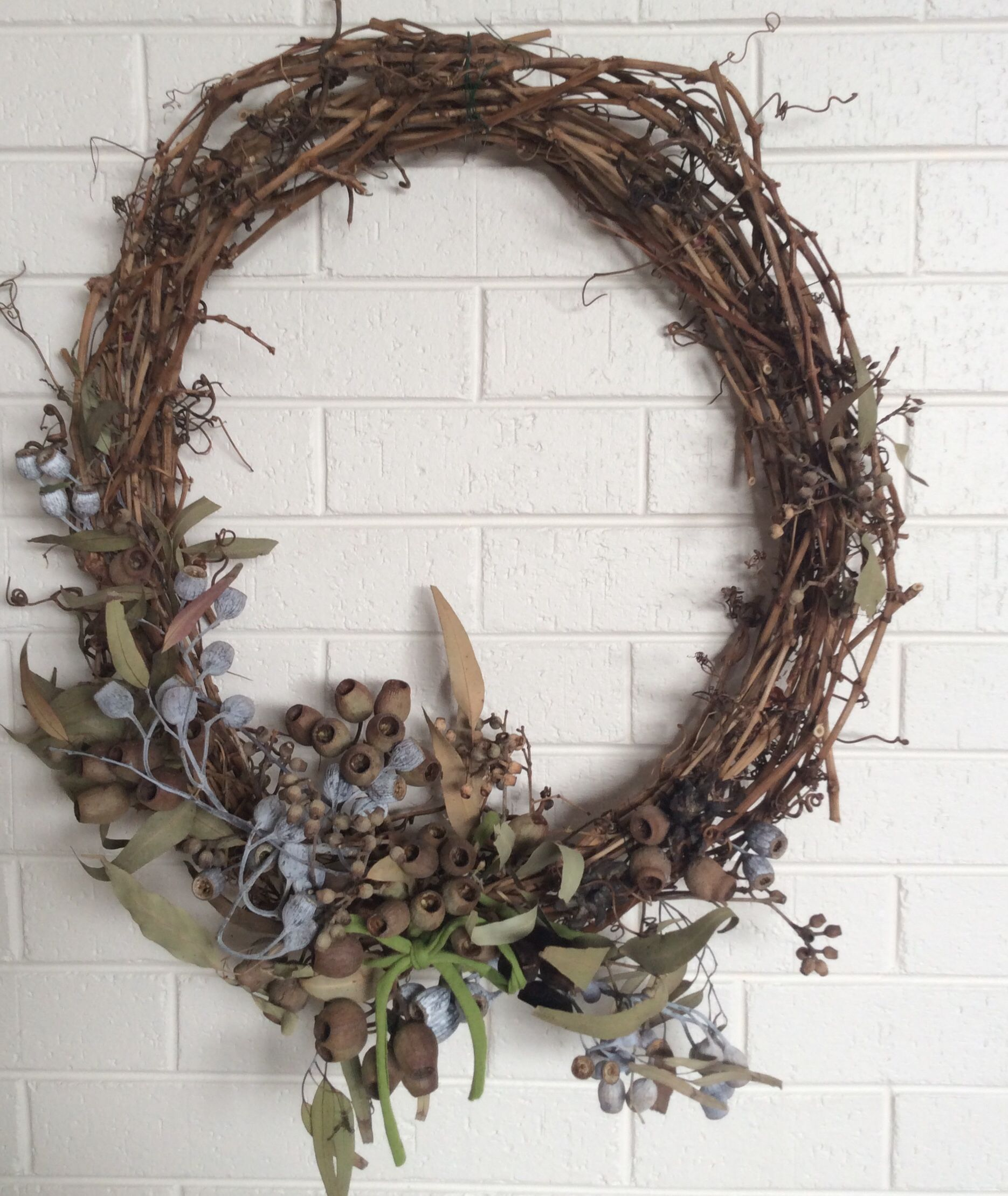 My attempt at a diy australian gum nut wreath for Christmas