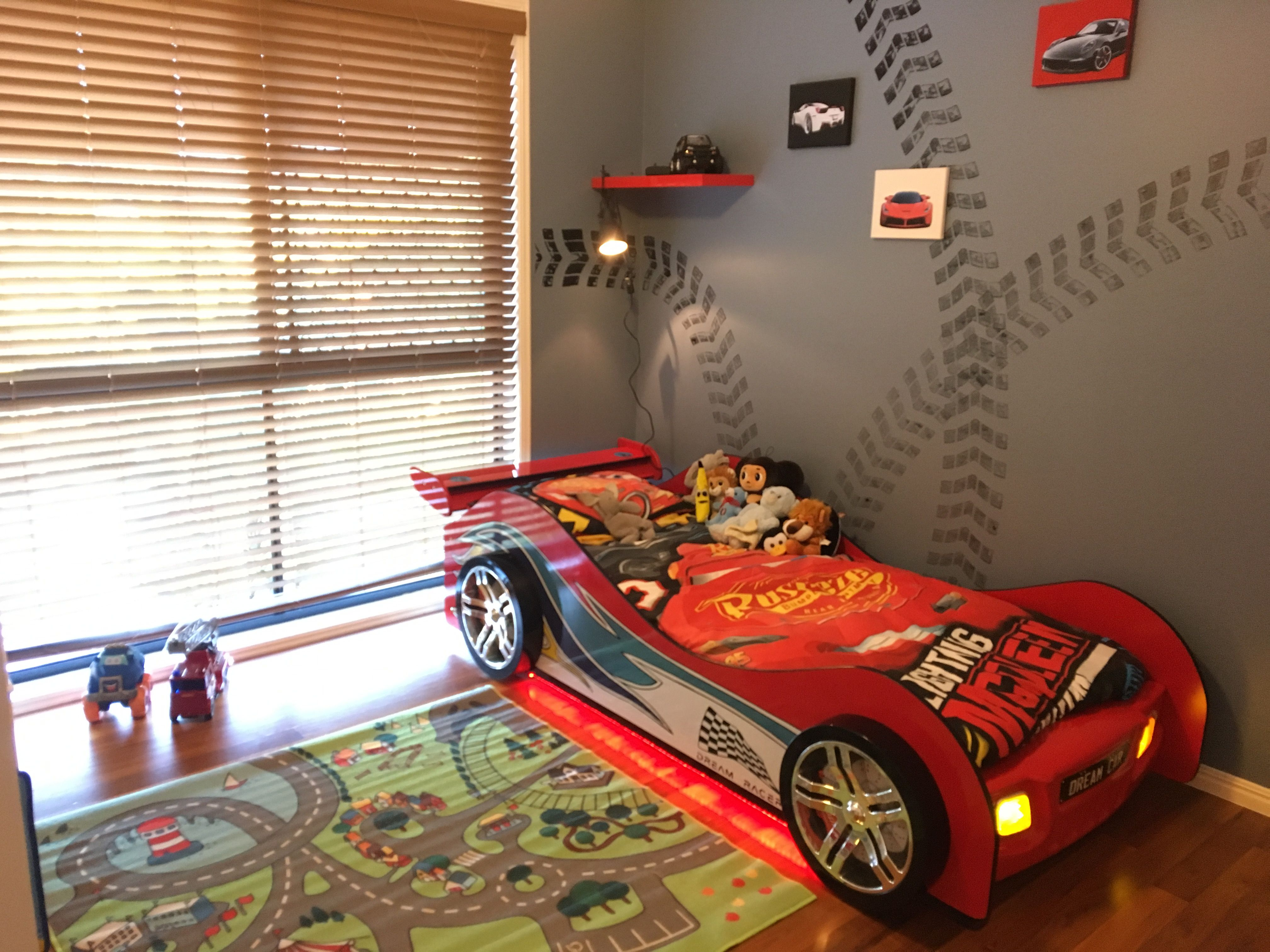 Racing Theme Room For Our 3 Year Old Boy Room Bedroom Racing Theme Carbed Car Bed 3yearold Red Blac Cars Bedroom Decor Cars Room Disney Cars Bedroom