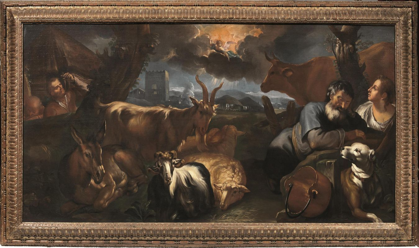 THE ANNOUNCEMENT TO THE SHEPHERDS. oil on canvas. 125,5 × 235 cm. Pandolfini. Florence. Old Paintings. 26/ 11/ 2014. Lot 70. Estimate: 12.000/ 18.000 €.