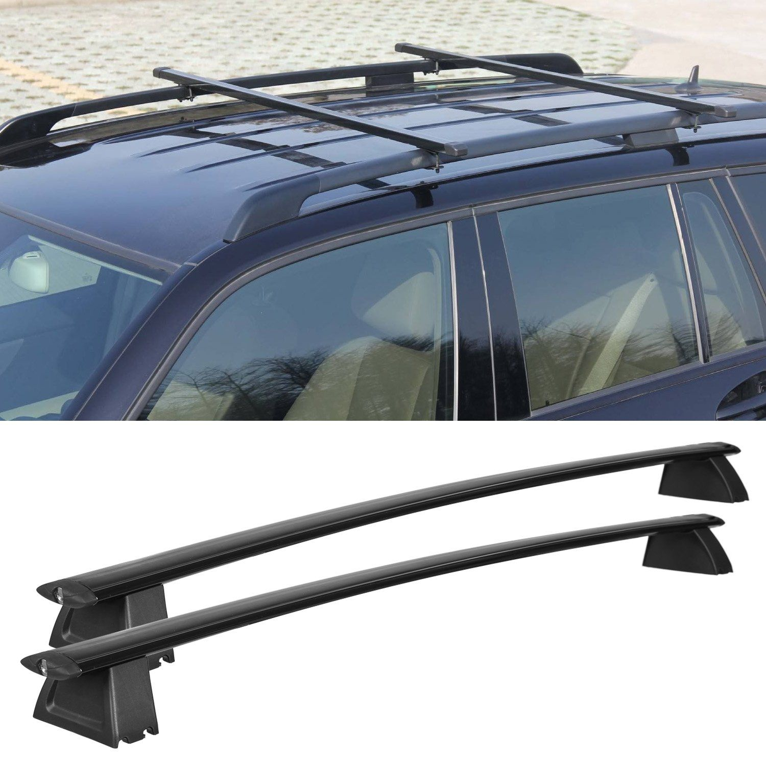 Roof Rack Cross Bars Set For 2011 2017 Jeep Grand Cherokee Black